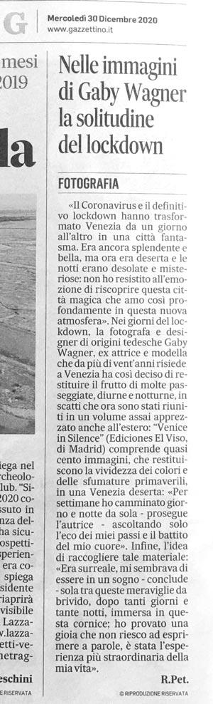 Venice in silence articolo nel quotidiano gazzettino 30 dicembre 2020